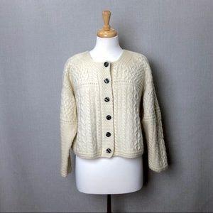 BLARNEY WOOLLEN MILLS Cream Irish Knit Cardigan S